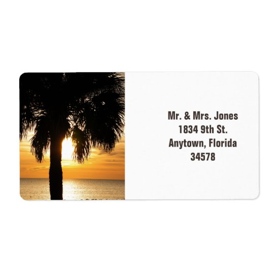 Palm tree in Florida sunset address label.
