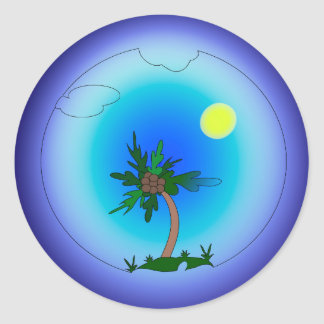 Palm tree in the sea classic round sticker