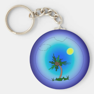 Palm tree in the sea key ring