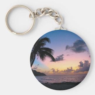 Palm Tree in the Sunset Basic Round Button Key Ring