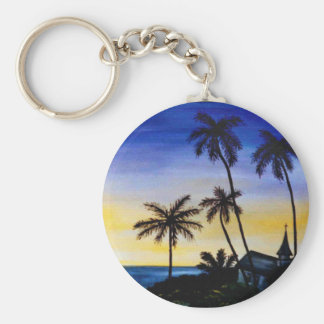 Palm Tree Island Basic Round Button Key Ring