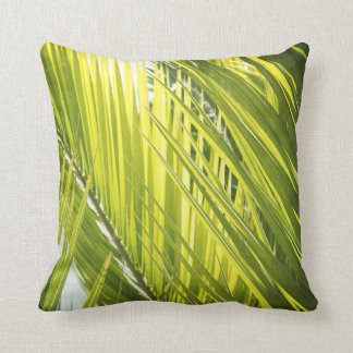 Palm Tree Leaf Green Throw Pillow