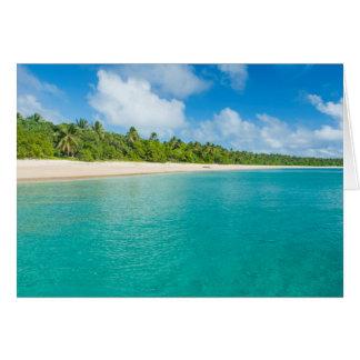 Palm tree lined beach, Tonga Card
