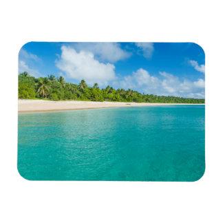 Palm tree lined beach, Tonga Rectangular Photo Magnet