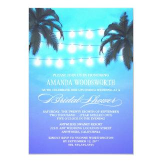 Palm Tree Night Lights Bridal Shower Invitations