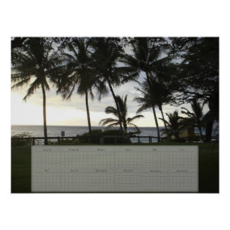 Palm Tree / Ocean Calendar (24X18) Posters