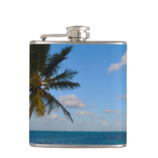 Palm Tree on a Beach Hip Flask