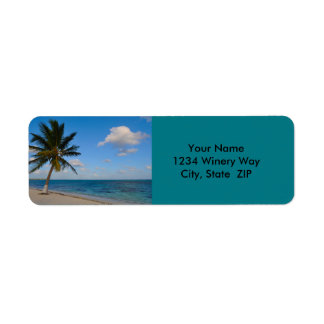 Palm Tree on a Beach Return Address Label