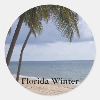 Palm tree on beach Florida Winter Classic Round Sticker