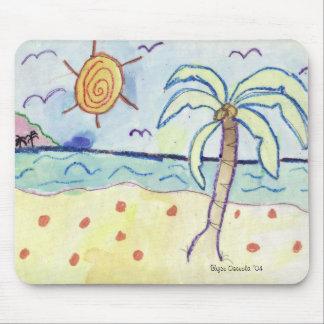 Palm Tree on Beach Mousepads