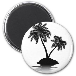 Palm Tree on Island Silhouette 2 6 Cm Round Magnet