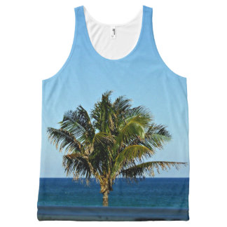 Palm Tree Over The Ocean All-Over Print Singlet