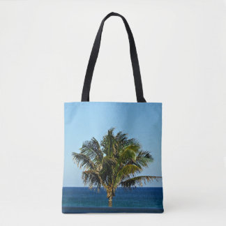 Palm Tree Over The Ocean Tote Bag