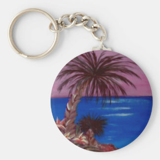 Palm Tree Pink Skies by ruby dubin Basic Round Button Key Ring