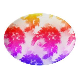 Palm tree porcelain coupe plate