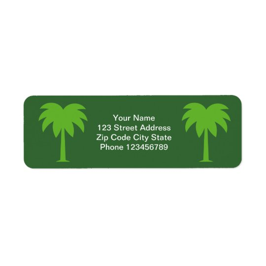 Palm tree return address label stickers