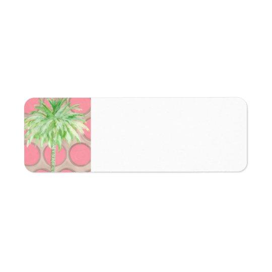 Palm Tree Return Address - Pretty Pink Polka Dots Return Address Label