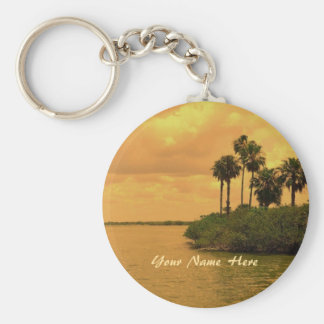 Palm Tree Reverie Custom Basic Round Button Key Ring