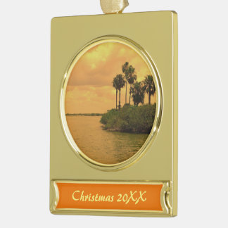 Palm Tree Reverie Dated Gold Plated Banner Ornament