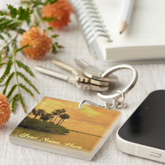 Palm Tree Reverie Personalized Double-Sided Square Acrylic Key Ring