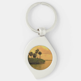 Palm Tree Reverie Silver-Colored Swirl Key Ring