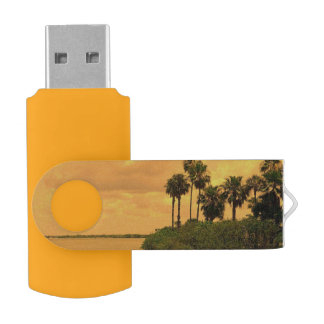 Palm Tree Reverie Swivel USB 2.0 Flash Drive