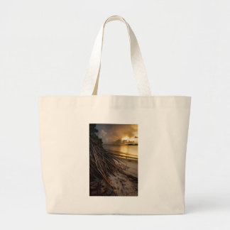 Palm Tree Roots at Sunset Large Tote Bag