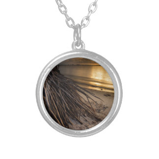 Palm Tree Roots at Sunset Silver Plated Necklace