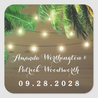 Palm Tree Rustic Lights Beach Wedding Favor Square Sticker