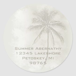 Palm Tree (Sand) Round Sticker