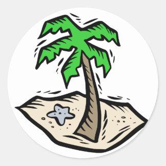 Palm Tree Sandy Beach Round Sticker
