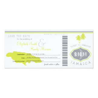 Palm Tree Save the Date Boarding Pass Jamaica Card