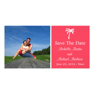 Palm Tree Save The Date Photocard (Coral) Customised Photo Card