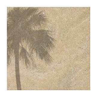Palm Tree Shadow on Beach Sand Background - Palms Canvas Print