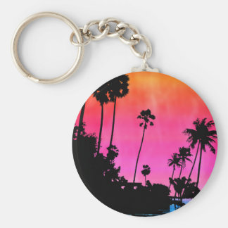Palm Tree Silhouette Basic Round Button Key Ring