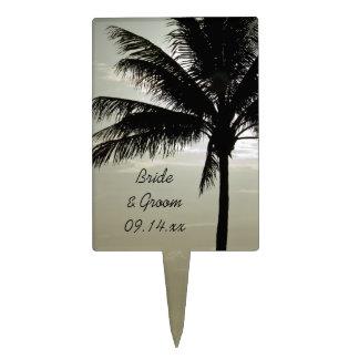 Palm Tree Silhouette Beach Wedding Cake Topper