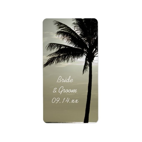 Palm Tree Silhouette Beach Wedding Favour Tag Address Label