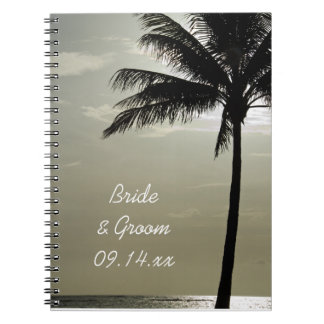 Palm Tree Silhouette Beach Wedding Spiral Notebook