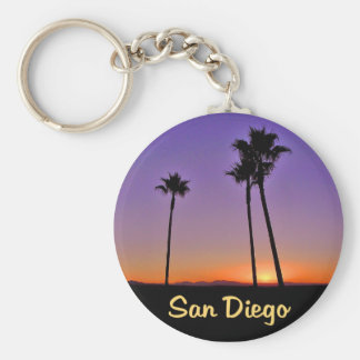 Palm Tree Silhouette In San Diego Basic Round Button Key Ring
