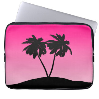 Palm Tree Silhouette on Dawn Pink Laptop Sleeve