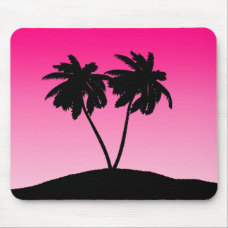 Palm Tree Silhouette on Dawn Pink Mouse Pad