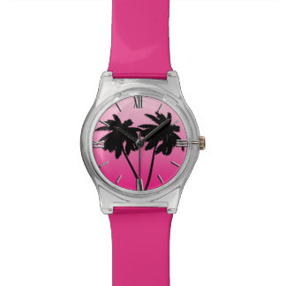 Palm Tree Silhouette on Dawn Pink Wristwatch