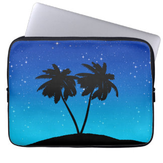 Palm Tree Silhouette on Evening Blue with Stars Laptop Sleeve