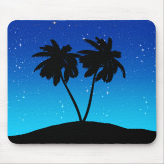 Palm Tree Silhouette on Evening Blue with Stars Mouse Pad