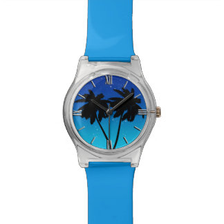 Palm Tree Silhouette on Evening Blue Wrist Watches