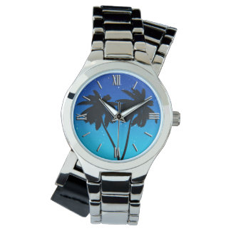 Palm Tree Silhouette on Evening Blue Wristwatches