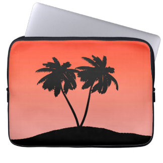 Palm Tree Silhouette on Sunset Orange Laptop Sleeve