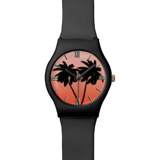 Palm Tree Silhouette on Sunset Orange Wristwatches