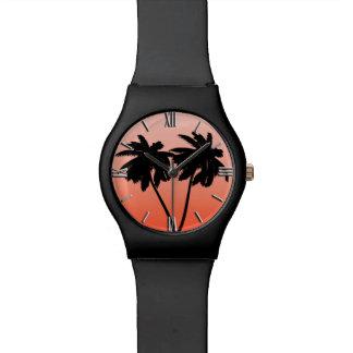 Palm Tree Silhouette on Sunset Orange Wristwatches