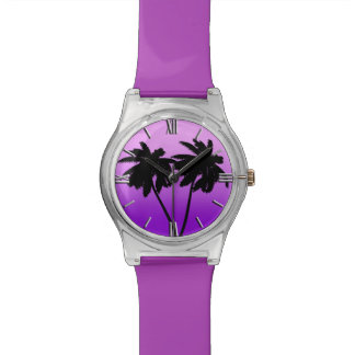 Palm Tree Silhouette on Twilight Purple Wristwatches